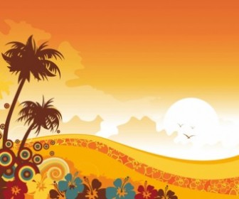 Sunset Tropical Background Vector Graphics