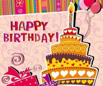 Cartoon Birthday Card Vector Background