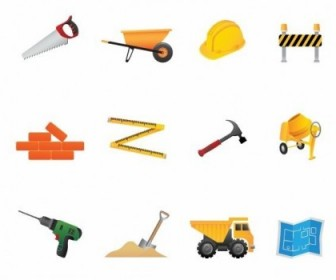 Building Construction Tools Vector Icon Set