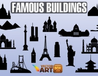 Famous Buildings Silhouettes Vector