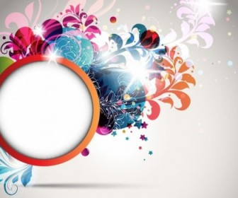 Round Frame Decorated With Floral Elements Vector