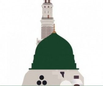 Mosque Nabawi Dome Vector Building