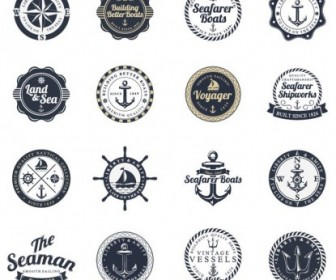 Ocean And Sea Labels Stamp Vector Pack