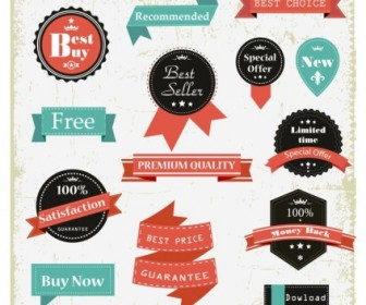 Vintage Labels Web Design Vector