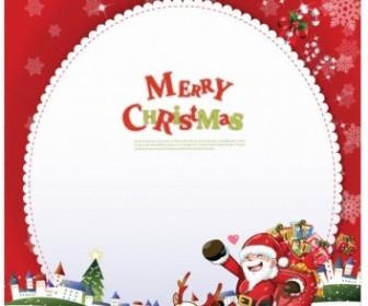 Merry Christmas Card With Santa Claus Vector