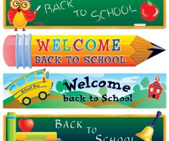 Cute School Theme Vector Banner