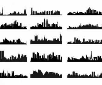 City Skyline Landscape Silhouette Vector Set