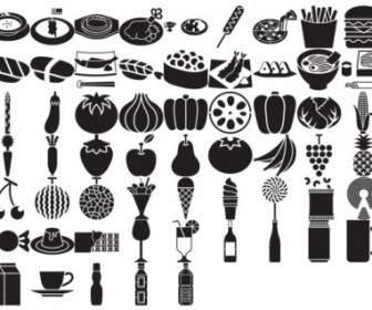 59 Elements Silhouette Food Vector Pack