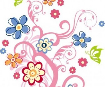 Tree With Flowers Vector Background