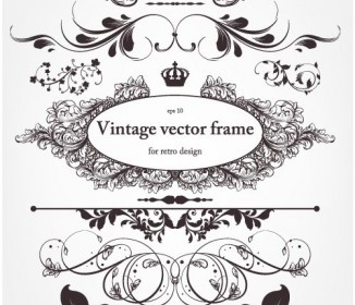 Europeanstyle Floral Border And Decorations 01 Vector Vector Floral