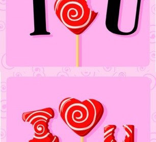 I Love You Candy Vector Background
