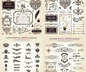 European Classic Pattern Border Elements Decoration Vector