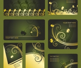 Green Patterns Card Template Vector