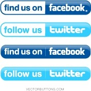 Simple Facebook and Twitter Buttons Vector