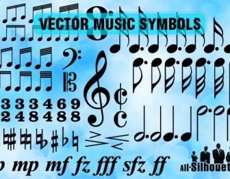Music Symbols Silhouettes Vector