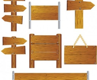 Realistic Wood Signs Vector Pack