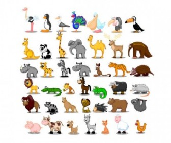Cute Cartoon Animals Vector Cartoon Pack
