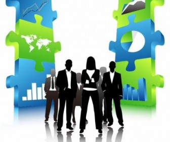 Business People Team With 3D Puzzle Pieces Vector Illustration