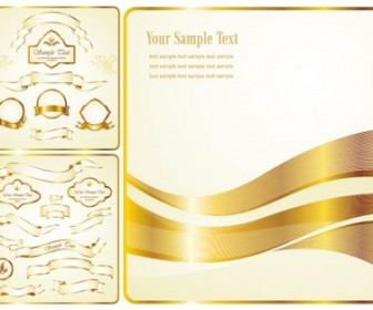 Gold Ribbon Label Vector Pack