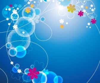 Abstract Blue Floral Vector Background