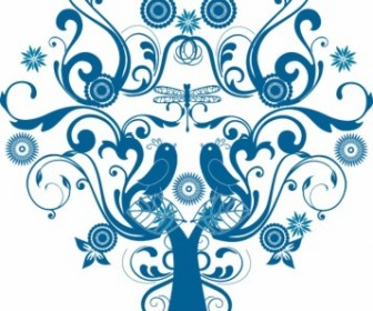 Tree Love Vector Pattern