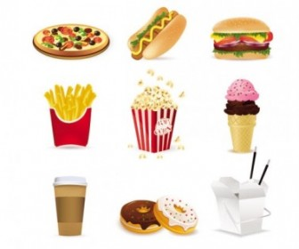 Fast Food Cartoon Vector Icons