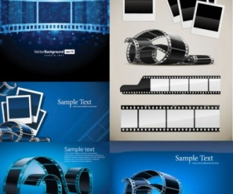 Blue Film Negatives Vector Pack