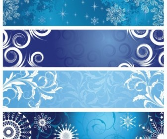 Vector Set of Christmas Banners With Snowflakes