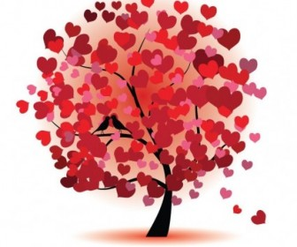 Abstract Red Love Tree Vector Graphic
