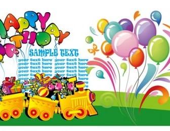 Happy Birthday Text Theme Vector