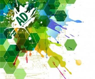 Abstract Hexagonal With Paint Splat Vector Illustration