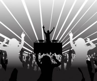 DJ And Party People Vector