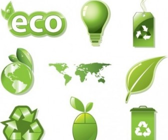 Vector Set Global ECO Green Icons