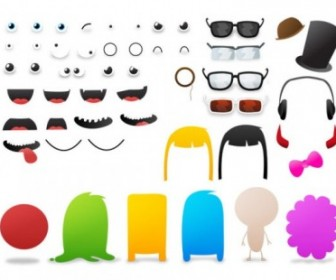 Elements Can Be Changed Cartoon Monster Vector Pack