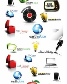 Beautiful 3d Icon Vector Pack
