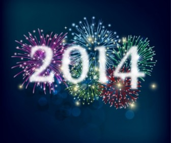 Fireworks And Happy New Year 2014 Vector Background