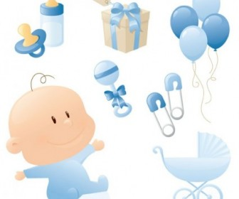 Cute Baby Theme Vector Graphics