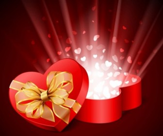 Heart Shaped Box Vector Background