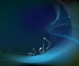 Musical Notes On Wave Background Vector