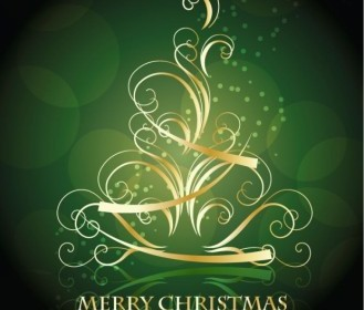 Golden Swirling Christmas Tree Background Vector