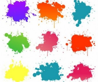 Vector Set Of Colored Blots On The White Background Vector Background