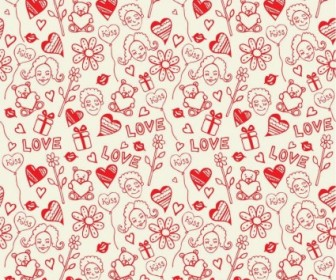 Vector Romantic Love Seamless Pattern Background
