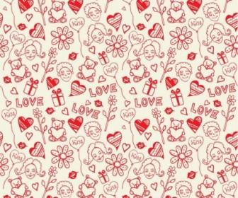 Vector Romantic Love Seamless Pattern Background