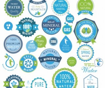 Vector Water Badges And Stickers Pack