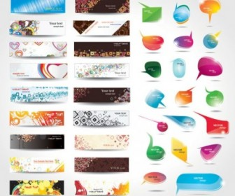 Dynamic Colorful Banner Dialog Boxes Vector Web Design