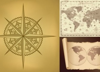 Old Maps and Compass Vector Graphics