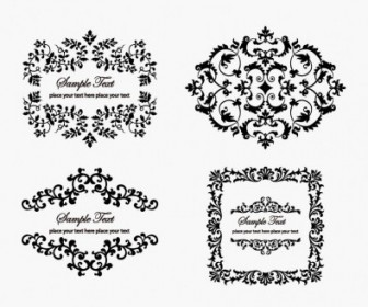 Vintage Floral Frame Vector Decoration Black and White