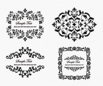 Vintage Floral Frame Vector Decoration Black and White