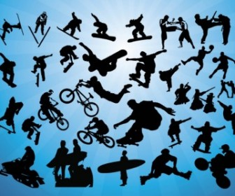Human Action Sports Silhouette Vector Pack