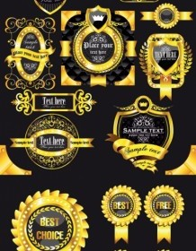 Golden Vintage Labels Ribbons Badges Vector Pack